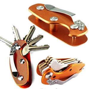 EDC Aluminum Key Holder Organizer Clip Folder Keyring Keychain Case Pocket Tool