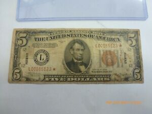 RARE $5 1934 HAWAII STAR NOTE RARE ONLY 24 KNOWN