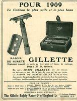 Publicité ancienne rasoir de sureté Gillette 1908 issue de magazine