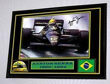 """Ayrton Senna  Large  Black Framed  Signed """"Great Gift"""""""