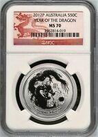 Australia 2012-P S50C 1/2 oz Silver Dragon NGC MS70  Coin Australia