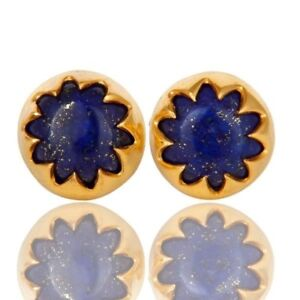 Women's Lapis Lazuli Gemstone Earrings 925 Silver Yellow Gold Plated Stud