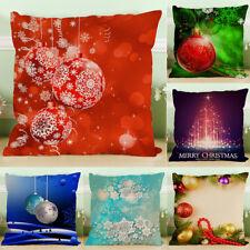 Cotton Linen Merry Christmas Throw Pillow Case Cushion Cover Sofa Home Car Decor