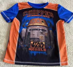 Star Wars Rebels Boys Orange Blue Chopper Droid Short Sleeve Pajama Shirt 8