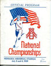 1939 Annual Athletic Union US Track Field Program Nebraska Ex Cond