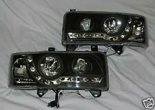 AUDI STYLE BLACK BACKED DRL HEADLIGHTS NEW FOR VW TRANSPORTER T4 1991 to 2003