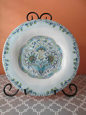 """222 Fifth Blue & White Paisley Aisha Round 12.75"""" Serving Platter Plate"""