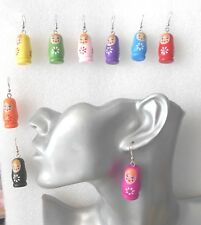 Wooden Russian Doll Earrings Handmade - Kitsch - Lightweight -Pierced or Clip-on