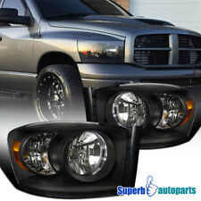 For 2006-2008 Dodge Ram 1500/2006-2009 Ram 2500 3500 SRT Black Headlights Lamp