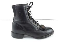 ARIAT Women's Black Leather Kiltie Roper Tassel Boots 33401 US 6B LB 819