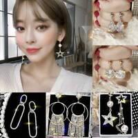 Elegant Crystal Round Tassel Earrings Drop Dangle Womens Wedding Jewelry Gift