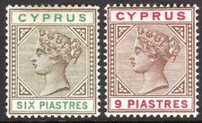 Cyprus 1894 sepia/green 6pi brown/carmine 9pi crown CA mint SG45/46