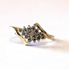 10k yellow gold ladies .16ct SI2 H womens diamond cluster ring 1.8g vintage