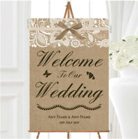 Blue Burlap /& Lace Effect Welcome Engagement Party Personalised Wedding Sign