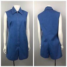 1960s Sleeveless Romper / Zip Up Blue Cotton Blend Shorts Jumpsuit / Women's S/M