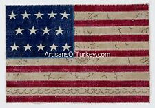 U.S. FLAG design PATCHWORK RUG & Wallhanging, Handmade from OVERDYED old CARPETS