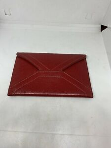 Red Leather Genuine Coach Business Card Wallet Men's Bi Fold