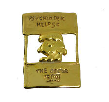 WOW Lucy Charlie Brown charm Peanuts Snoopy 24K Gold Plated Psychiatric help Doc