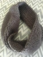 Hand Knitted Hygge Infinity Scarf Cowl in Sterling Gray
