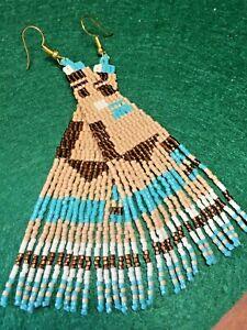 Caramel Bronze Aqua Geometric Boho Southwestern Style Seed Bead Fringe Earrings