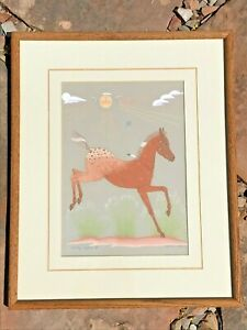 """Harrison Begay Navajo Original Painting Signed Framed """"CHIEF'S PONY"""""""
