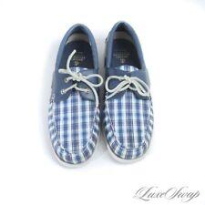NIB #1 MENSWEAR Brooks Brothers Blue Madras Deck Moccasin Boat Shoes 9.5 NR #18