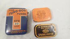 3 Vintage Tin Fuse Advertising Tins Tung-Sol, Sparklighter, Zane Weldcraft