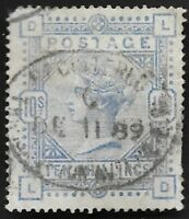 1884 QV SG183 10s Ultramarine LD High Value Fine Used CV £525