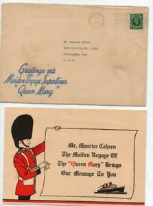 1936 Scarce Souvenir Item From Maiden Voyage RMS Queen Mary See Scans