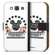 Samsung Galaxy S3 Tasche Hülle Flip Case - Mickey Mouse - College Flowers