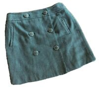 Ann Taylor Loft Skirt Size 4 Green Double Button Front Tweed Straight Women's