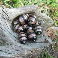 10 Perles de bohème Lampwork olive (noir)
