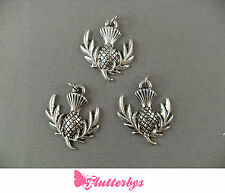 30 Scottish Thistle Silver Plated Charms /Jewellery Making