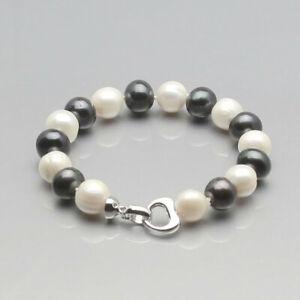 Fashion 9-10mm White Pink Black Freshwater Cultured Pearl Bracelet 7.5''