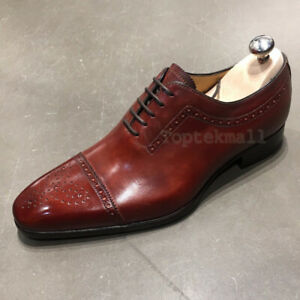 Handmade Men's Leather Oxfords Wingtip Formal Custom Premium Quality Shoes-125