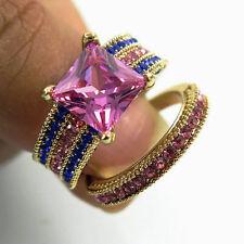 SZ 8 Gold Rhodium Plated pink Sapphire Princess Cut Ring Set Wedding Engagement