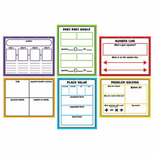Large Dry Erase Math Graphic Organizers - Educational - 6 Pieces