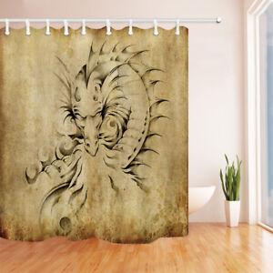 Dragon on Old Paper Shower Curtain Bathroom Waterproof Fabric Decor 69X84''