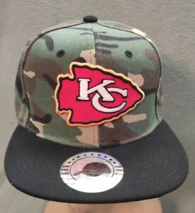 Kansas City Chiefs Hat Camo & Black Flat Bill Snapback Kansas City Chiefs Cap
