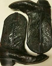 VINTAGE DAN POST OXBLOOD BURGUNDY/BLACK/RED COWBOY BOOTS SZ 9EE
