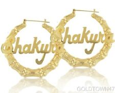 10kt Yellow Gold Bamboo Personalized Name  Hoop Earrings