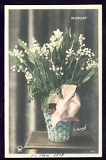 cpa H. MANUEL Ecrite le 1er Mai 1908 MUGUET Drawing LILY of the VALLEY Vintage