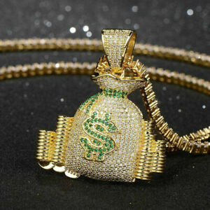 Round Cut Cubic Zircon 14K Yellow Gold Over Silver Iced Money Bag Stack Pendant