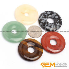 Natural 30mm Assorted Stones Round Donut Beads For Pendant Earring Making 1 Pcs