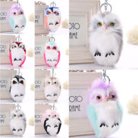 Pompom Fluffy Owl Key Chain Ring Keyrings Handbag Car Key Pendant Decor 07UK