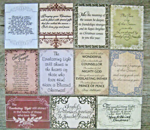 """CHRISTMAS THEMED PROJECT LIFE CARDS - 3"""" X 4"""" - 11 CARDS"""