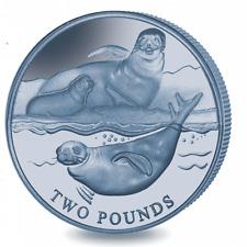 2017 £2 British Antarctic Territory Crabeater Seal Blue Titanium w/box COA