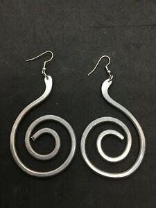 Aluminium Dangle Earrings / Hammered Spiral Earrings / Statement Earrings.