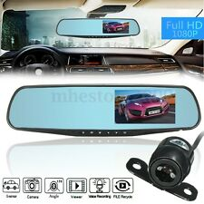4.3'' Car LCD 1080p Dual Lens Monitor Rear View Mirror + Revers Backup Camera