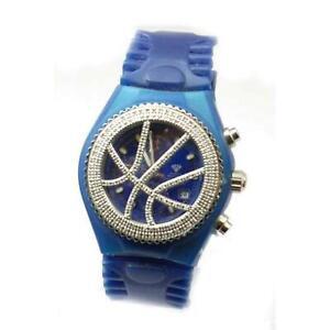 Aqua Master Chronograph 1.50ct Diamond Rubber Strap Unisex Sports Watch DW10